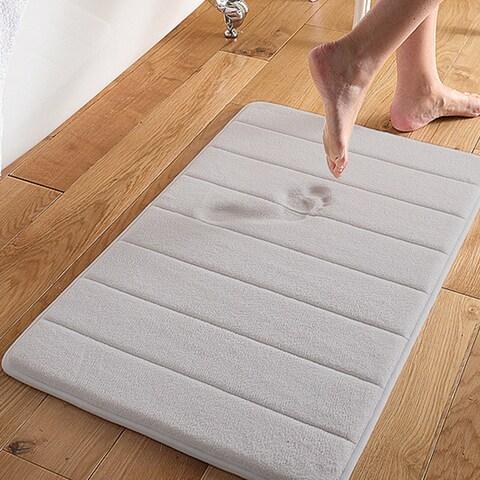 Super Soft and Absorbent 16x24 Memory Foam Bath Mat White