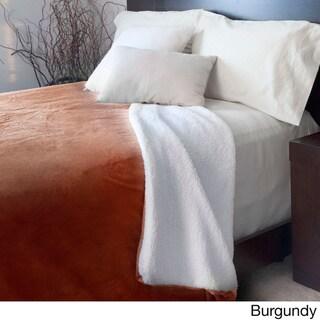 Windsor Home Fleece Blanket with Sherpa Backing