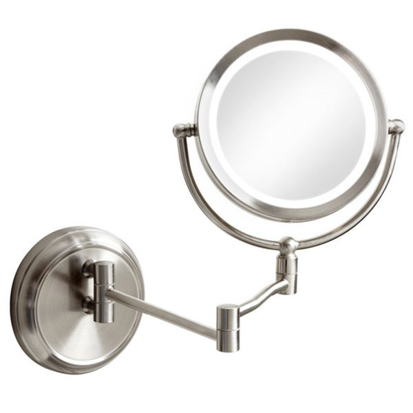 Dainolite Swing Arm LED-lighted Satin Chrome Finish Magnifiying Mirror