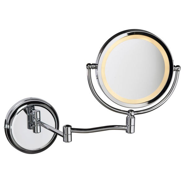 Dainolite Swing Arm LED-lighted Magnifier Mirror in Polished Chrome Finish - Silver