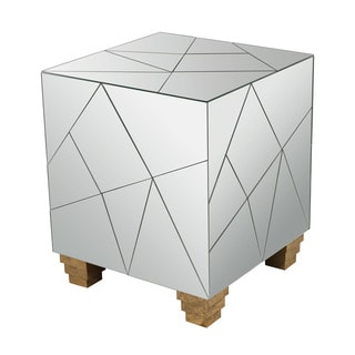 LS Dimond Home Mirrored Mosaic Cube Foot Stool