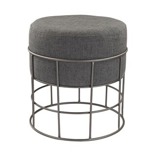 LS Dimond Home Pewter and Grey Linen Stool