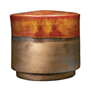 LS Dimond Home Short Coffee and Burnt Gold Garden Stool