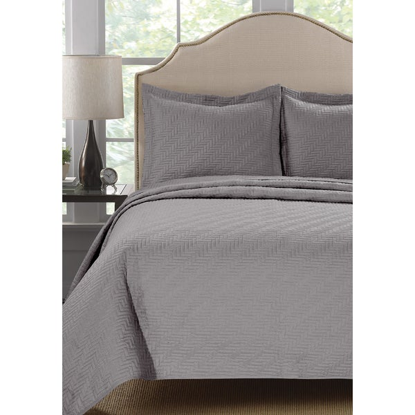 Home Fashion Designs Emerson Collection 3-Piece Block Design Quilt Set with Shams in Solid Colors