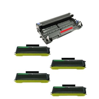 Brother TN650 Toner BK Compatible DR620 Drum Cartridge HL-5340 HL-5340D (Pack of 5)
