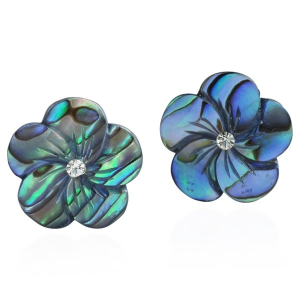 Handmade Peacock Abalone Flower .925 Sterling Silver Post Earrings (Thailand)