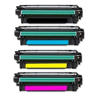Compatible HP CE250X CE251A CE252A CE253A Black Cyan Magenta Yellow Toner Cartridge CM3530 CM3530fs CP3525 CP3525dn (Pack of 4)