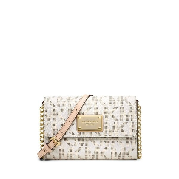 Michael Kors Jet Set Travel Vanilla Signature Phone Crossbody Handbag