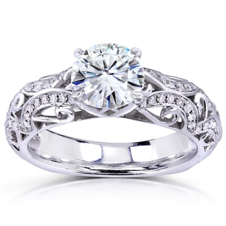 Annello by Kobelli 14k White Gold Moissanite and Diamond Filigree Ring (H-I, I1-I2)