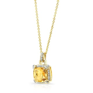 Estie G 14k Yellow Gold Cushion-cut Citrine 1/5ct TDW Diamond Pendant (H-I, SI1-SI2)