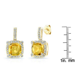 Estie G 14k Yellow Gold Citrine 2/5ct TDW Diamond Earrings (H-I, SI1-SI2)