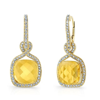 Estie G 14k Yellow Gold Citrine and 5/8ct TDW Diamond Earrings (H-I, SI1-SI2)