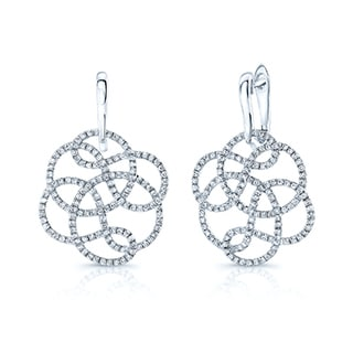 Estie G 18k White Gold 1 1/3ct TDW Diamond Floral Earrings