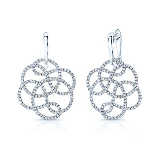 Estie G 18k White Gold 1 1/3ct TDW Diamond Floral Earrings (H-I, SI1-SI2)