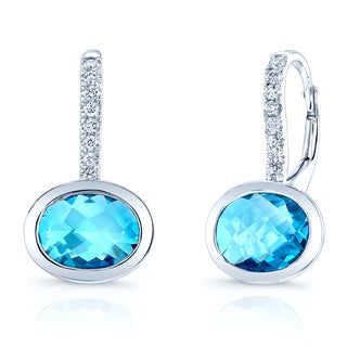 Estie G 14k White Gold London Blue Topaz 1/8ct TDW Diamond Leverback Earrings (H-I, SI1-SI2)
