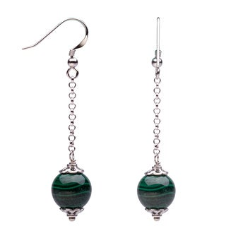 Sterling Silver 12mm Malachite Dangling Earrings