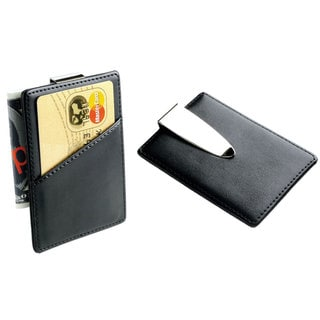 Visol Sheen Leather and Stainless Steel Money Clip/Card Holder