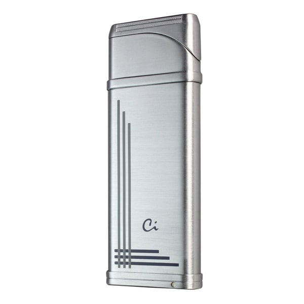 Caseti Alchemy Windproof Flame Coil Lighter - Chrome & Blue Lines (Ships Degassed)