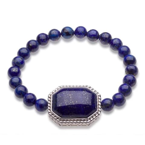 Sterling Silver Lapis Beads Stretch Bracelets