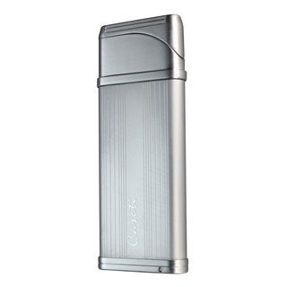 Caseti Alchemy Windproof Flame Coil Lighter - Satin Chrome Lines (Ships Degassed)