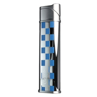 Caseti Marauder Soft Flame Lighter - Blue Lacquer & Chrome Grid (Ships Degassed)