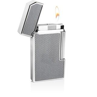 Caseti Windsor Traditional Flame Flint Lighter - Silver Carbon Fiber (Ships Degassed)
