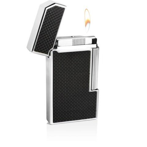 Caseti Windsor Traditional Flame Flint Lighter - Black Carbon Fiber (Ships Degassed)