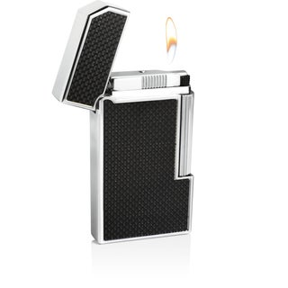 Caseti Windsor Traditional Flame Flint Lighter - Black Carbon Fiber (Ships Degassed)