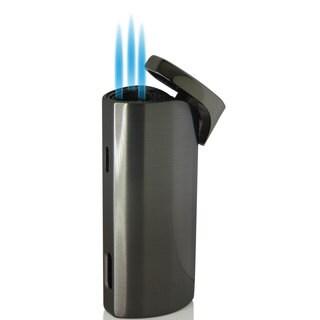 Caseti Basilisk Triple Jet Flame Cigar Lighter - Chrome Lines (Ships Degassed)