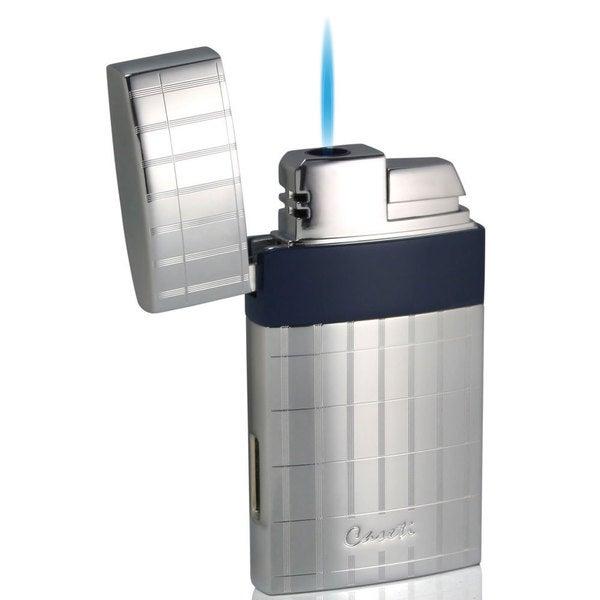 Caseti Troy Single Jet Flame Cigar Lighter - Polished Chrome With Blue (Ships Degassed)