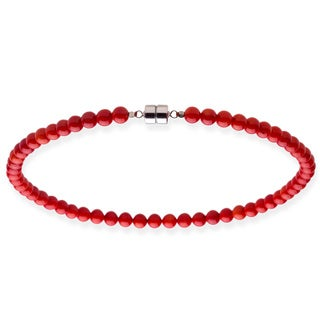Sterling Silver 8mm Red Coral Bead Necklace (18 - 20 inches)
