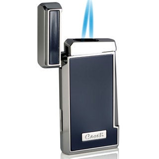 Caseti Tyros Double Jet Flame Cigar Lighter - Blue Lacquer (Ships Degassed)