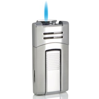Caseti Corinth Single Jet Flame Cigar Lighter - Chrome (Ships Degassed)