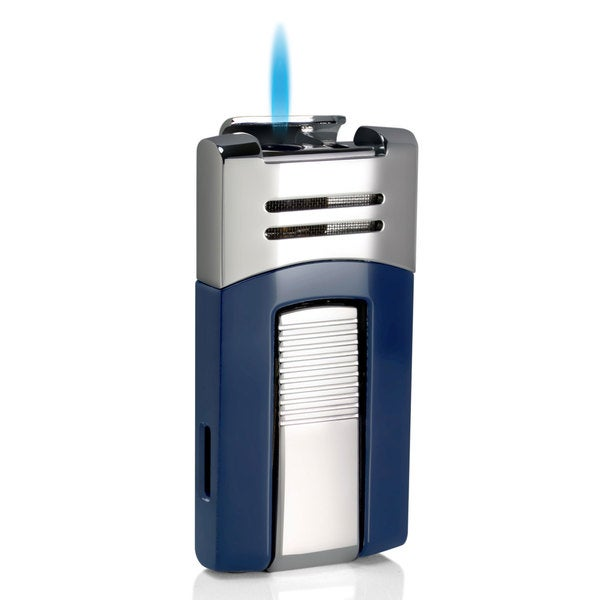 Caseti Corinth Single Jet Flame Cigar Lighter - Blue & Chrome (Ships Degassed)