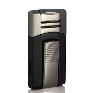Caseti Corinth Single Jet Flame Cigar Lighter - Black Lacquer (Ships Degassed)