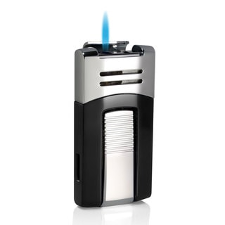 Caseti Corinth Single Jet Flame Cigar Lighter - Black & Chrome (Ships Degassed)