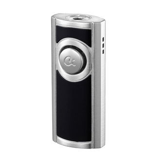 Caseti Patronum Single Jet Flame Cigar Lighter - Black Lacquer & Satin Chrome (Ships Degassed)