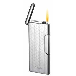 Caseti Lumos Traditional Flame Lighter - Chrome Lines (Ships Degassed)