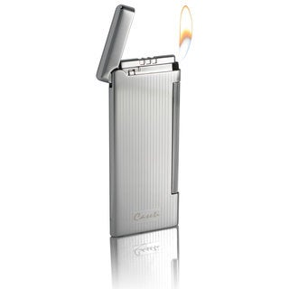 Caseti Nox Soft Flame Flint Lighter - Chrome Lines I (Ships Degassed)