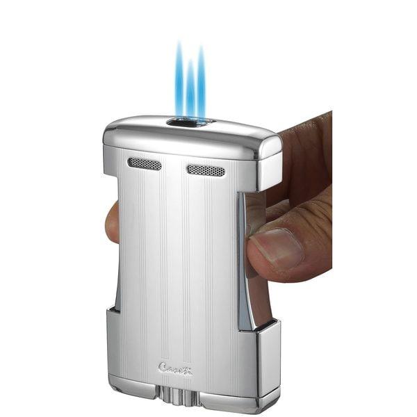 Caseti Sparta Triple Jet Flame Cigar Table Lighter - Satin Gunmetal (Ships Degassed)