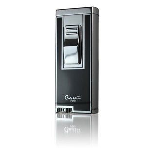 Caseti Sunderland Dual Flame Lighter - Chrome Plated & Black Lacquer (Ships Degassed)