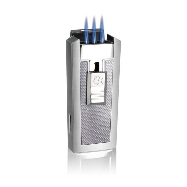 Caseti Tripolis Triple Jet Flame Cigar Lighter - White Carbon Fiber (Ships Degassed)