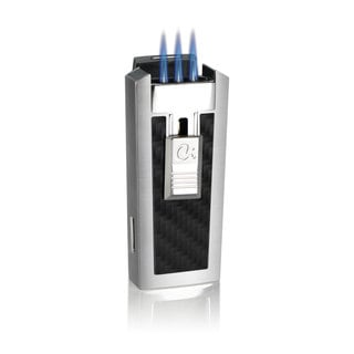 Caseti Tripolis Triple Jet Flame Cigar Lighter - Black Carbon Fiber (Ships Degassed)