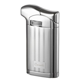 Caseti Felix Soft Flame Pipe Lighter with Tamper - Chrome Lines II (Ships Degassed)