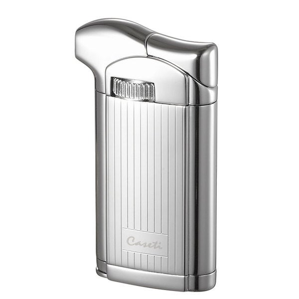 Caseti Felix Soft Flame Pipe Lighter with Tamper - Chrome Lines I (Ships Degassed)
