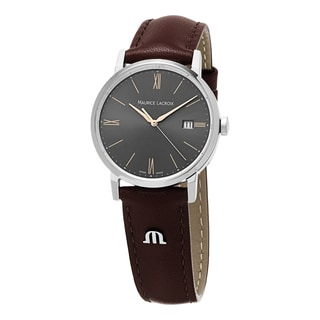 Maurice Lacroix Women's EL1084-SS001-811 'Eliros' Grey Dial Brown Leather Strap Watch