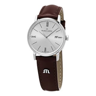 Maurice Lacroix Women's EL1084-SS001-110 'Eliros' Silver Dial Brown Leather Strap Watch|https://ak1.ostkcdn.com/images/products/10394572/P17497590.jpg?impolicy=medium
