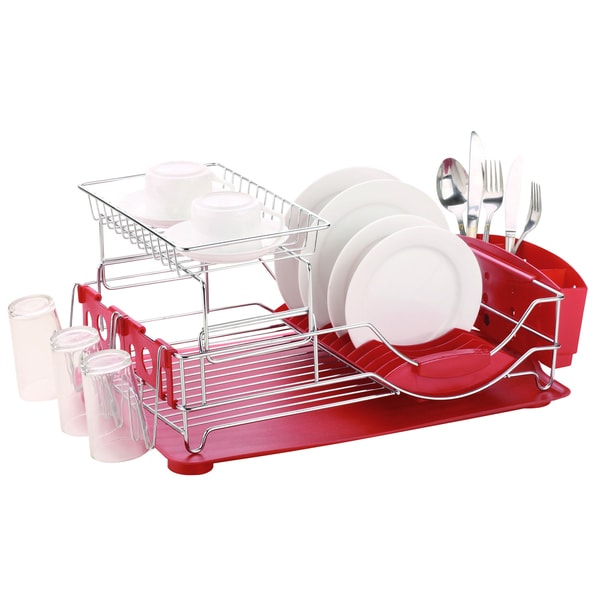 Home Basics Chrome Plated Steel 2-tier Deluxe Dish Drainer - White