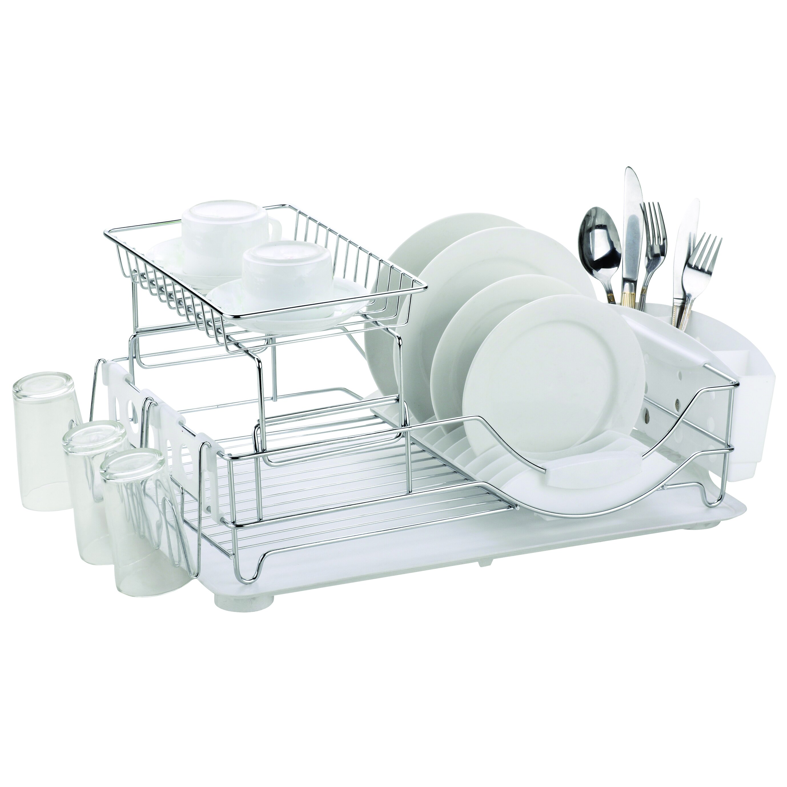Home Basics Deluxe 2-tier Dish Rack Drainer (Black) (Metal)