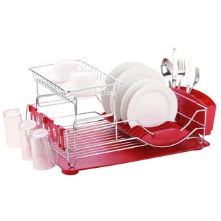 Home Basics Deluxe 2-tier Dish Rack Drainer